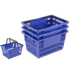 "Plastic Shopping Basket with Plastic Handle, Large, 19-3/8""L X 13-1/4""W X 10""H, Blue, Good L ®"