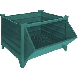 "Topper Stackable Steel Container 51006GHF Solid, Hopper Front, 35""L x 35""W x 24""H, Green"