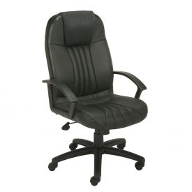 Boss Executive Office Chair - Leather - High Back - Black