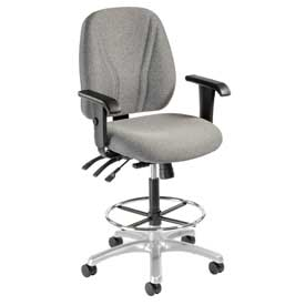 Manager Stool With Arms - Fabric - 360° Footrest - Gray