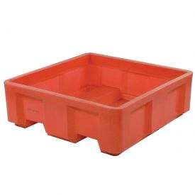 "Dandux Forkliftable Single Wall Skid Bulk Container 512143R - 48"" x 48"" x 26"", Red"