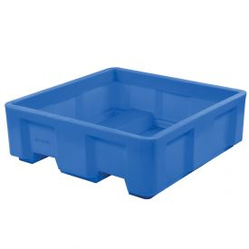 "Dandux Forkliftable Single Wall Skid Bulk Container 512168 - 40"" x 37"" x 38"", Blue"