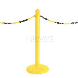 Pedestrian Barrier Chain Type Post Non-Reflective With Base - Pkg Qty 6