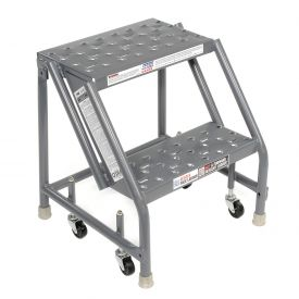 "Perforated 16""W 2 Step Steel Rolling Ladder 10""D Top Step"