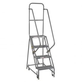 "Grip 16""W 4 Step Steel Rolling Ladder 10""D Top Step"