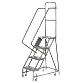 "Perforated 16""W 4 Step Steel Rolling Ladder 10""D Top Step"