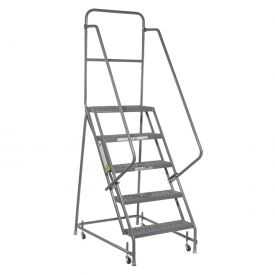 "Grip 16""W 5 Step Steel Rolling Ladder 10""D Top Step"