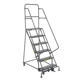 "6 Step 24""W 10""D Top Step Steel Rolling Ladder - Perforated Tread"