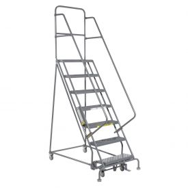 "7 Step 24""W 10""D Top Step Steel Rolling Ladder - Grip Tread"