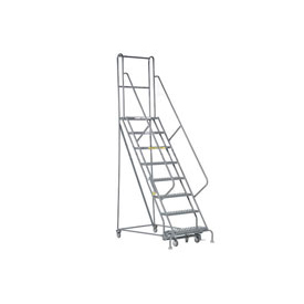 "8 Step 24""W 10""D Top Step Steel Rolling Ladder - Perforated Tread"