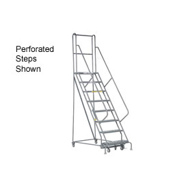 "8 Step 24""W 20""D Top Step Steel Rolling Ladder - Grip Tread"