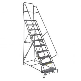 "10 Step 24""W 20""D Top Step Steel Rolling Ladder - Grip Tread"