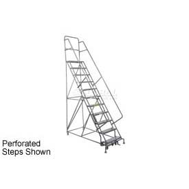 "11 Step 24""W 20""D Top Step Steel Rolling Ladder - Grip Tread"