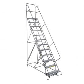 "13 Step 24""W 10""D Top Step Steel Rolling Ladder - Perforated Tread"