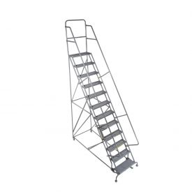 "14 Step 24""W 10""D Top Step Steel Rolling Ladder - Grip Tread"