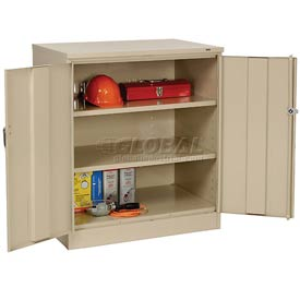 Tennsco Counter Height Industrial Storage Cabinet 2442 214 - 36x24x42 Sand