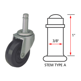 Algood Standard Series Chair Caster with Soft Rubber Wheel S803-375SX1SR, Stem Type A