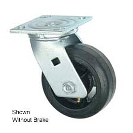 "Faultless Swivel Plate Caster 1418-6RB 6"" Mold-On Rubber Wheel with Brake"