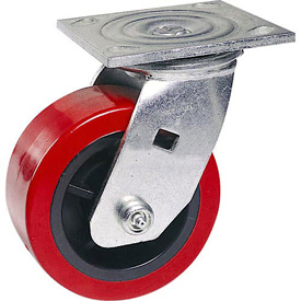 "Faultless Swivel Plate Caster 1498-8RB 8"" Polyurethane Wheel with Brake"