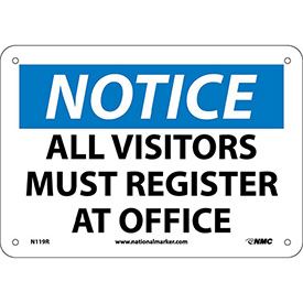 "Safety Signs - Notice All Visitors Must Register - Rigid Plastic 7""H X 10""W"