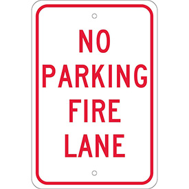 "Aluminum Sign - No Parking Fire Lane - .080"" Thick, TM3J"