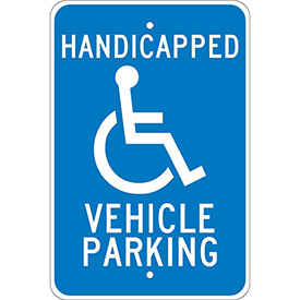 Aluminum Sign - Handicapped Vehicle Parking - .08mm Thick