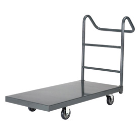 "Steel Deck Platform Truck 36 x 24 1000 Lb. Capacity 5"" Polyurethane Casters with Ergo Handle"