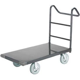 "Steel Deck Platform Truck 36 x 24 2400 Lb. Capacity 8"" Pneumatic Casters with Ergo Handle"