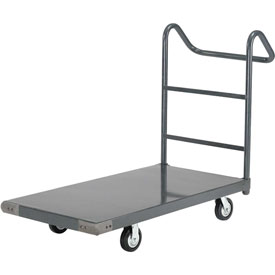 "Steel Deck Platform Truck 48 x 30 2000 Lb. Capacity 6"" Rubber Casters with Ergo Handle"