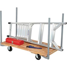 "Stake Handle Hardwood Deck Platform Truck 48 x 24 1400 Lb. Capacity 5"" Rubber Casters"