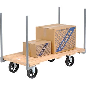 "Stake Handle Hardwood Deck Platform Truck 54 x 27 2400 Lb. Capacity 8"" Rubber Casters"