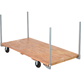 "Stake Handle Hardwood Deck Platform Truck 72 x 36 1400 Lb. Capacity  5"" Rubber Casters"