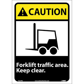 "Graphic Signs - Caution Forklift Traffic Area - Vinyl 10""W X 14""H"