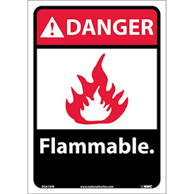"Graphic Signs - Danger Flammable - Vinyl 10""W X 14""H"