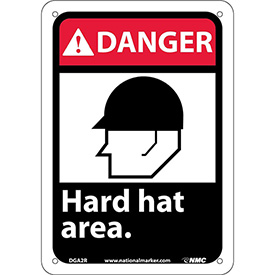 "Graphic Signs - Danger Hard Hat Area - Plastic 7""W X 10""H"
