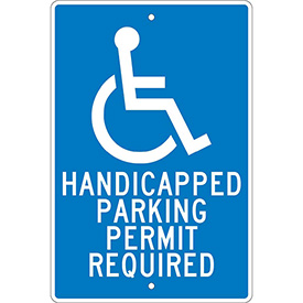 "Aluminum Sign - Handicapped Parking Permit - .063"" Thick, TM84H"