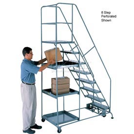 11 Step Steel Stock Picking Ladder - Grip Strut Tread