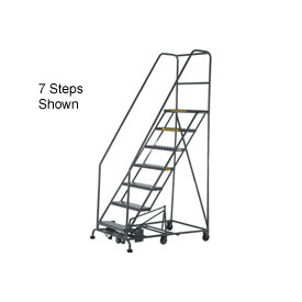 10 Step Steel Easy Turn Rolling Ladder - Safety Angle