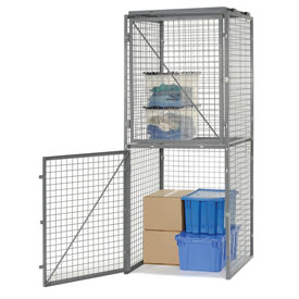 Bulk Storage Locker Double Tier 4' X 4' Starter With Roof