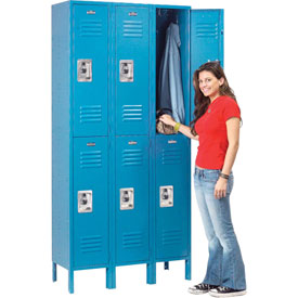 Infinity™ Locker Double Tier 3 Wide 12x18x36 Assembled Blue