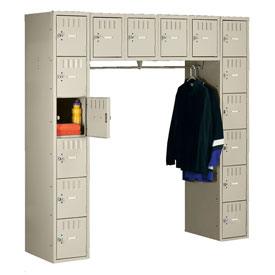 Tennsco Box Locker SRK-721872-A 214 - 16 Person w/o Legs 12x18x12 Unassembled, Sand