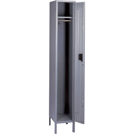 Tennsco Steel Locker STS-121572-1 02 - Single Tier w/Legs 1 Wide 12x15x72 Assembled, Medium Grey