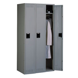 Tennsco Steel Locker STS-121572-C 02 - Single Tier No Legs 3 Wide 12x15x72 Assembled, Medium Grey