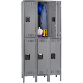 Tennsco Steel Locker DTS121536-3 02 - Double Tier w/Legs 3 Wide 12x15x36 Assembled, Medium Grey