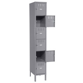 Tennsco Box Locker BS6-121512-1 02 - Six Tier w/Legs 1 Wide 12x15x12 Assembled, Medium Grey