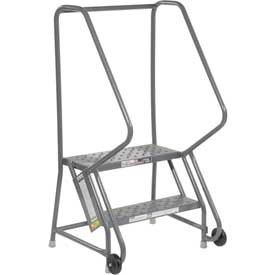 "2 Step Steel 24""W Step Tilt And Roll Ladder - Perforated Tread - KDTF102246"