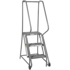 "3 Step Steel 16""W Step Tilt And Roll Ladder - Grip Strut Tread - KDTF103162"