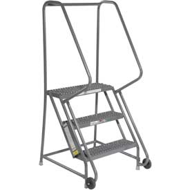 "3 Step Steel 24""W Step Tilt And Roll Ladder - Grip Strut Tread - KDTF103242"