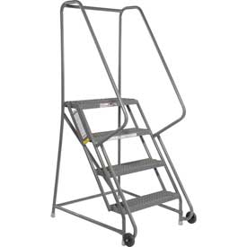 "4 Step Steel 24""W Step Tilt And Roll Ladder - Grip Strut Tread - KDTF104242"
