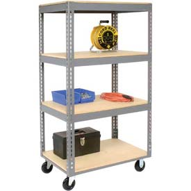 Easy Adjust Boltless 4 Shelf Truck 60 x 24 with Wood Shelves - Polyurethane Casters